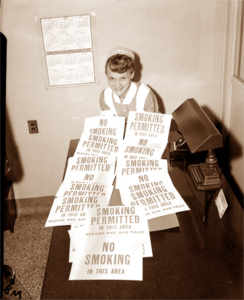 1957 No Smoking fire prevention signs at St. Luke's Hospital