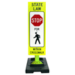 STOP For Pedestrians Within Crosswalk On Banana Base