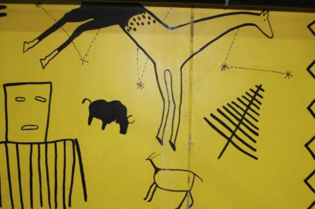 Mural reminiscent of caveman drawings