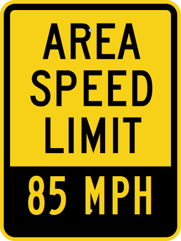 Speed limit sign, 85 mph.
