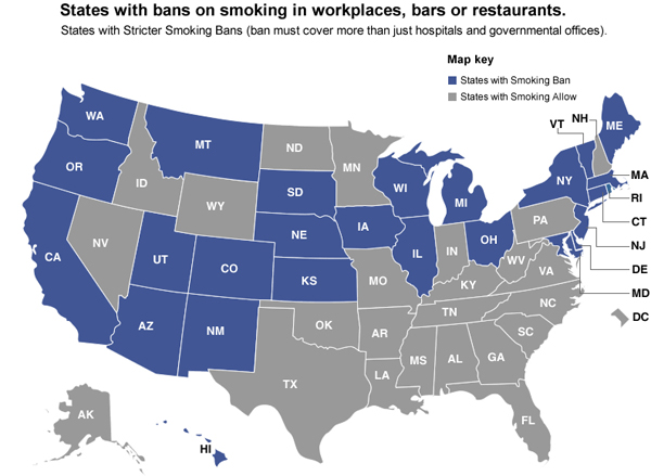 New Study Shows More Smoking Bans And Taxes Lead To Fewer Smoking - Tobacco death us map