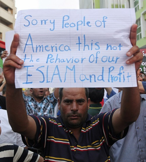 Libyan man protesting the killing of the U.S. ambassador.