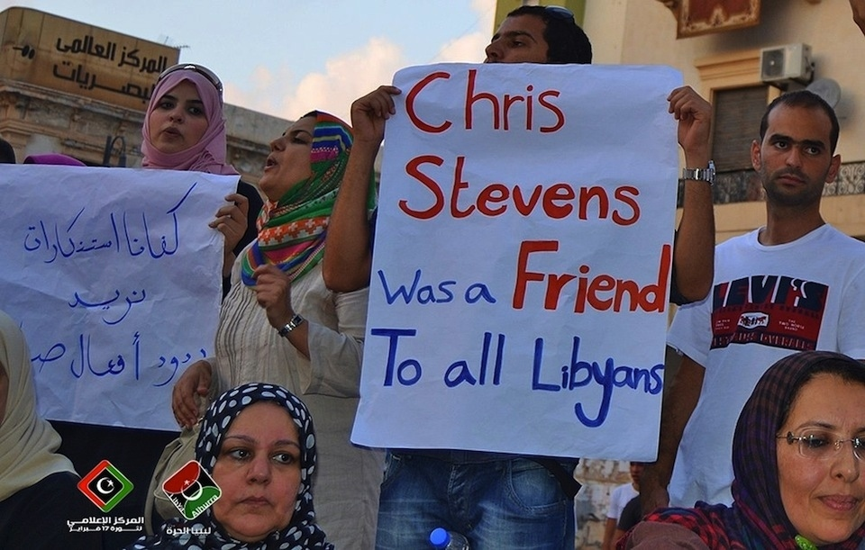 """Protest sign in Libya: """"Chris Stevens was a Friend to all Libyans."""""""