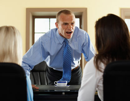 workplace bullying yelling man