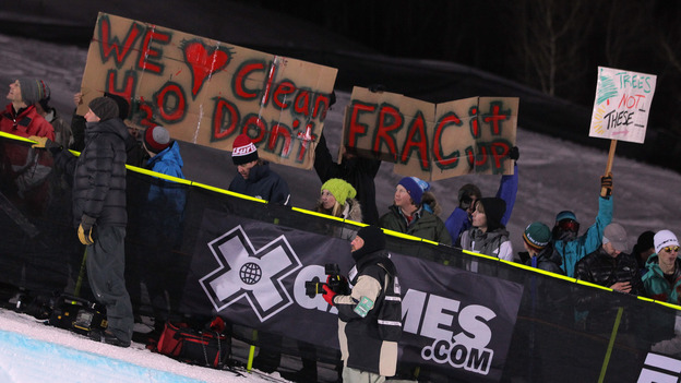 fracking protest sign at X games