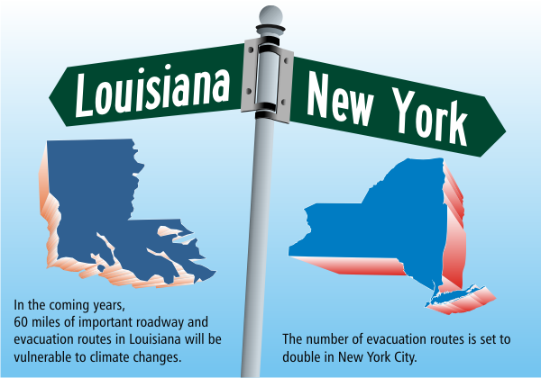 New York to Louisiana how global warming affects evacuation routes