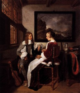 A painting of a man and a woman in conversation.