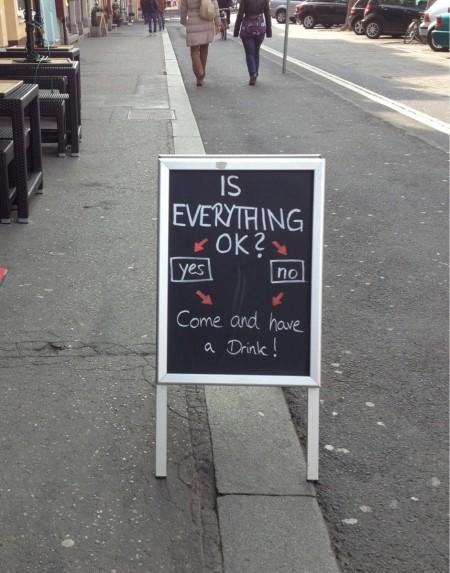 funny bar sidewalk sign