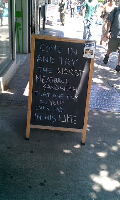 Funny Sidewalk Sign using Yelp and Social Media in text