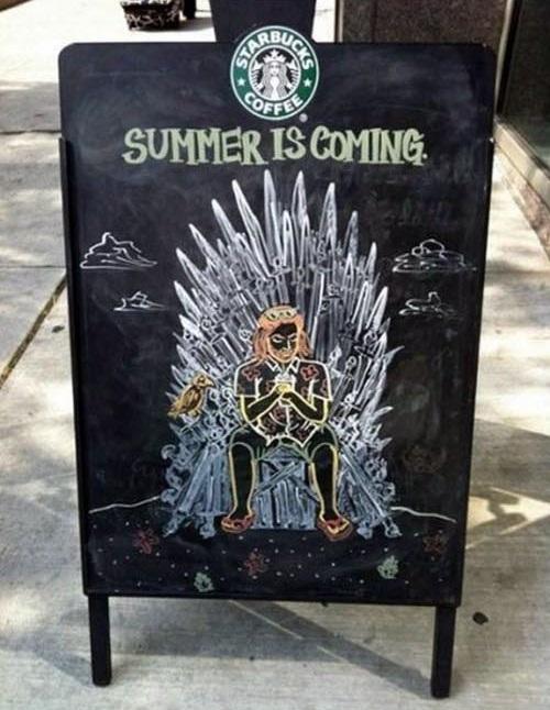 Game of Thrones Starbucks coffee chalkboard sign