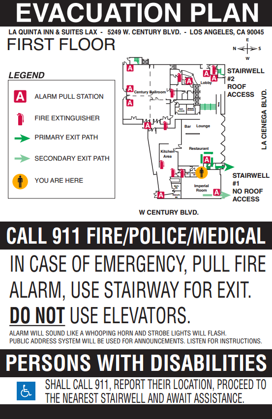 A hotel evacuation plan. Courtesey of Hank McMahon.