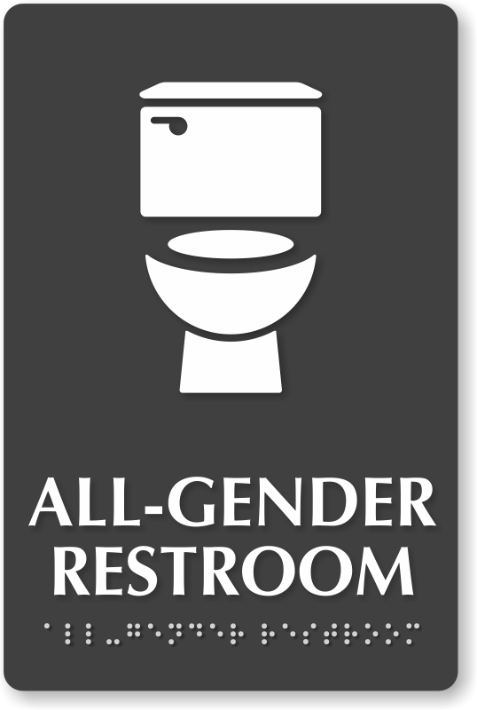 Bathroom Sign Size all gender bathroom sign : smartsign blog