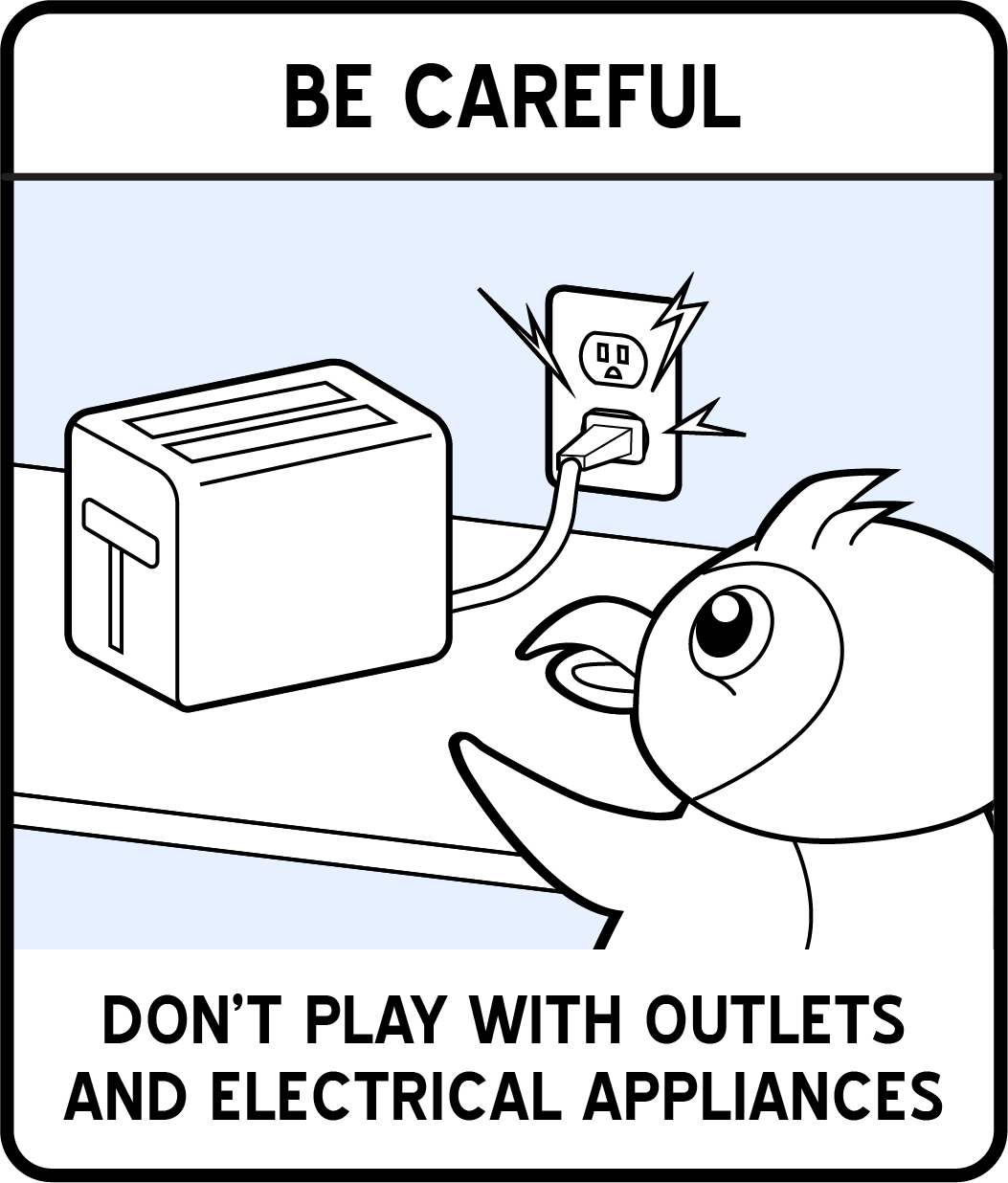 A cartoon penguin about to touch a malfunctioning toaster.