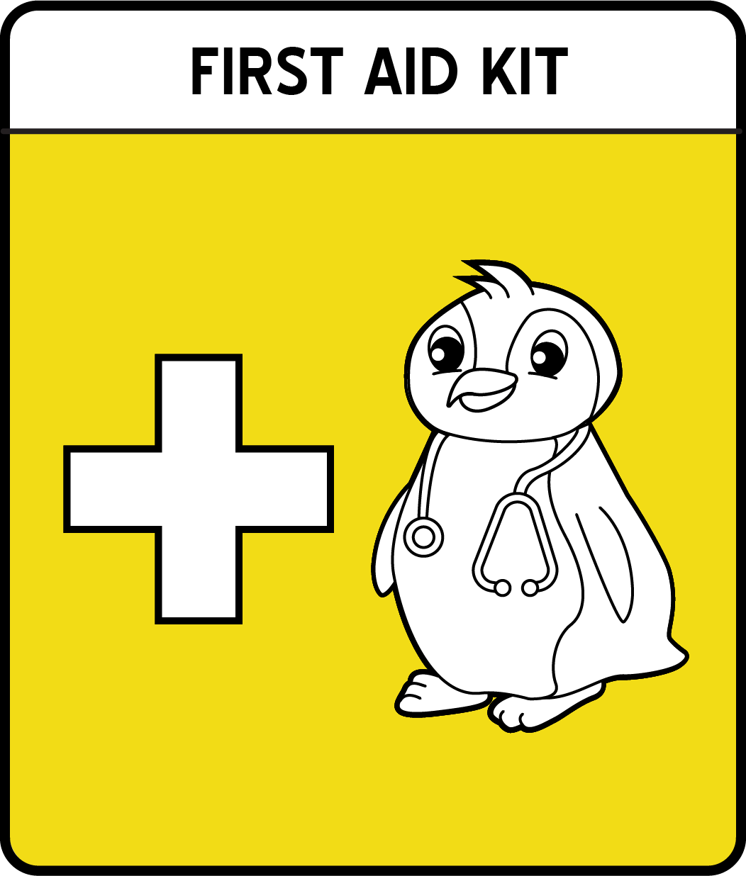 A cartoon penguin wearing a stethoscope next to a plus symbol.