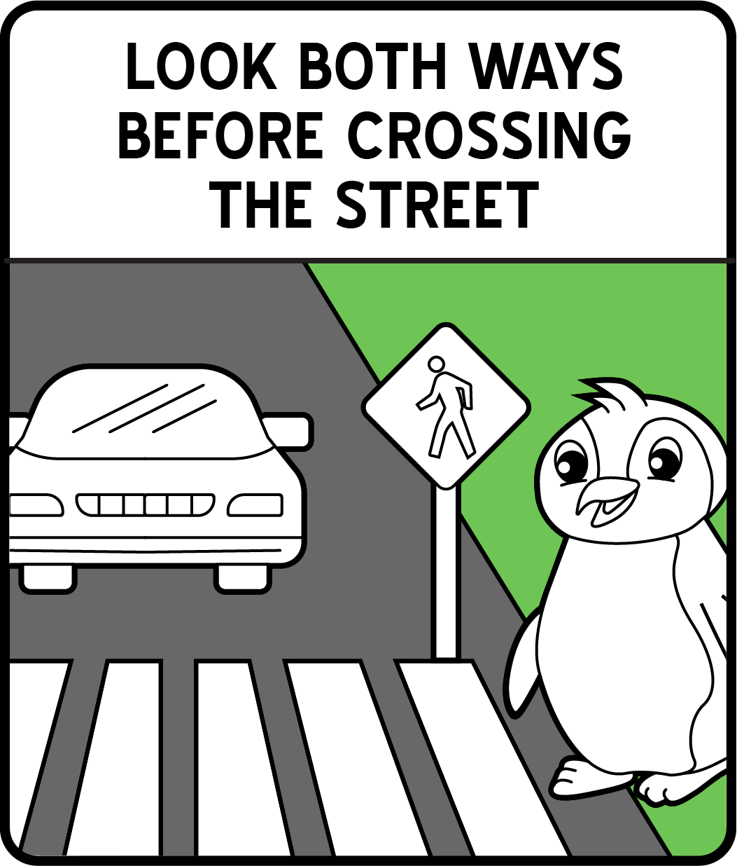 A cartoon penguin about to cross the street while a car is coming.