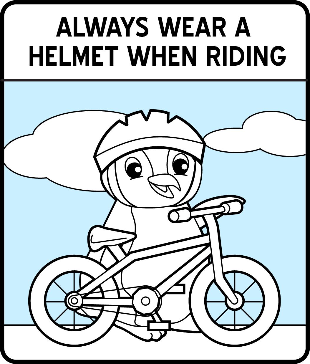 A cartoon penguin wearing a helmet and holding a bike.