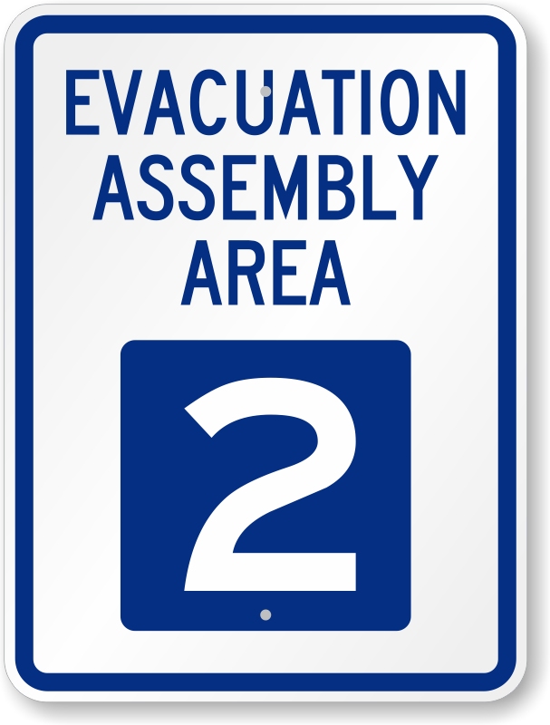 Evacuation Assembly Area 2 Sign Emergency Point Signs