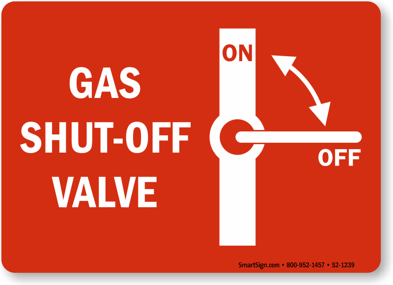 Gas Shut Off Signs Fuel Safety Signs More Online
