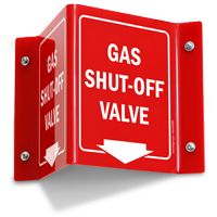 Gas Valve Shut Off Projecting Sign